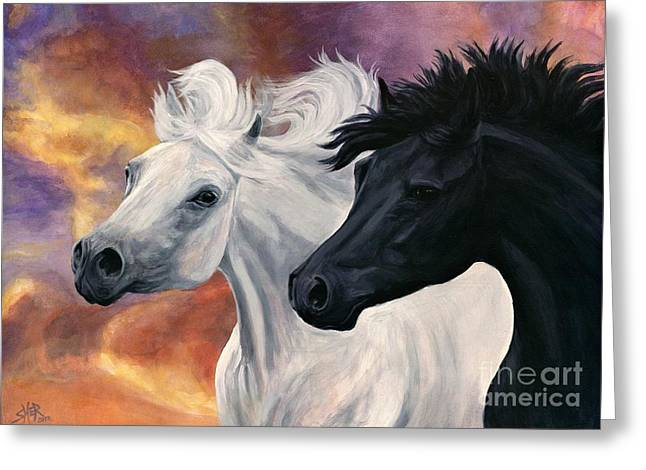 Greeting Card featuring the painting Ebony And Ivory by Sheri Gordon