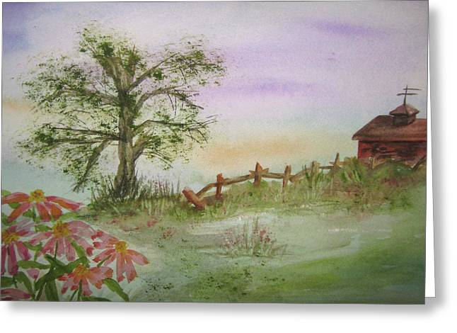Echinacea And Crooked Fence Greeting Card by Ellen Levinson