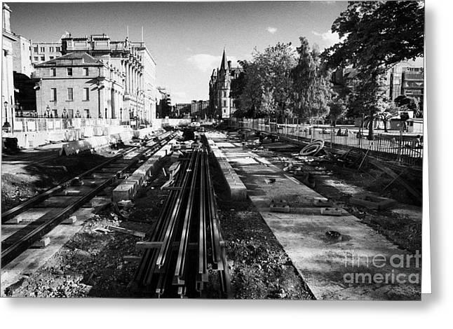 Edinburghs New Tram System Under Construction In St Andrews Square Scotland Uk United Kingdom Greeting Card by Joe Fox