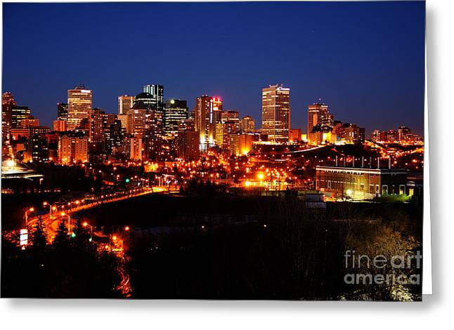 Edmonton Skyline Greeting Card by Rachel Duchesne