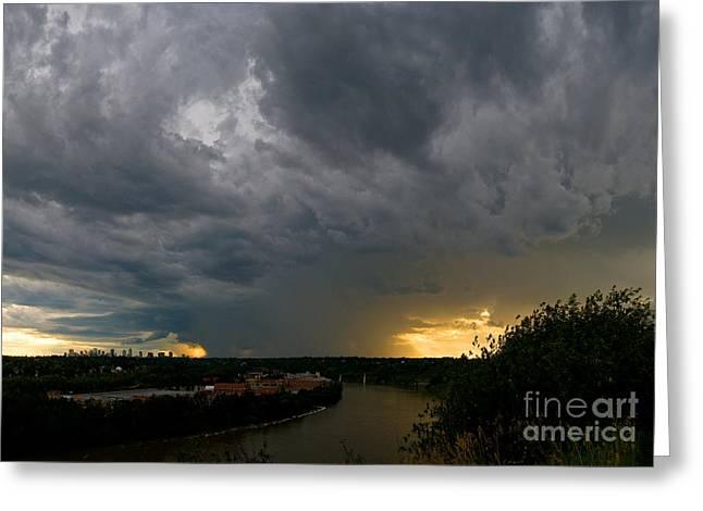 Edmonton Storm Clouds  Greeting Card by Terry Elniski