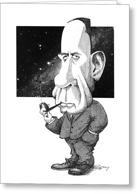 Edwin Hubble, Us Astronomer Greeting Card by Gary Brown