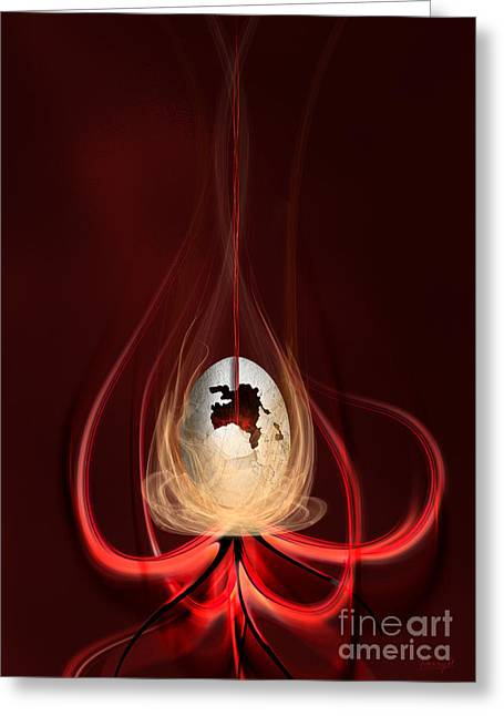 Greeting Card featuring the digital art Egg With Red Flow by Johnny Hildingsson
