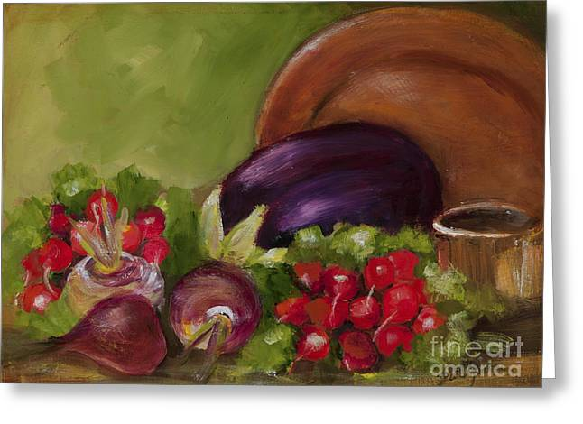 Eggplant And Radishes Greeting Card