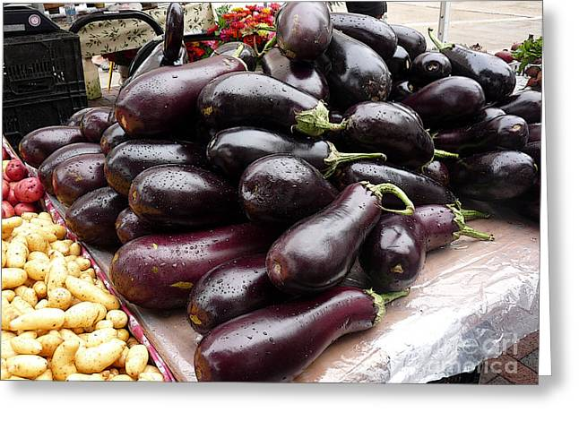 Eggplants And Fingerling Potatoes Greeting Card by David Bearden