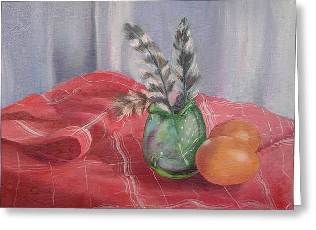 Greeting Card featuring the painting Eggs Feathers And Glass by Carol Berning