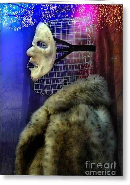 Ego Mask In Winter Wrappings Greeting Card by Rosa Cobos