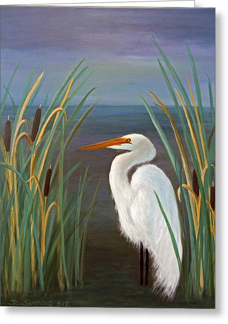 Greeting Card featuring the painting Egret In Cattails by Janet Greer Sammons