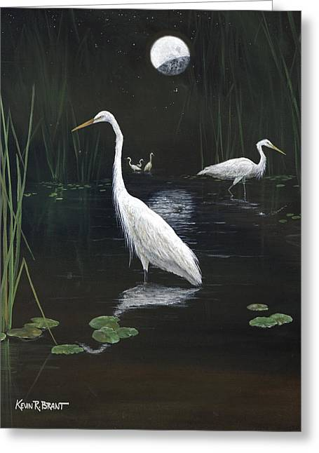 Egrets In The Moonlight Greeting Card by Kevin Brant