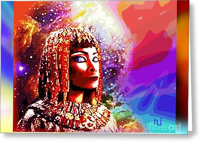 Greeting Card featuring the digital art Egyptian Queen by Hartmut Jager