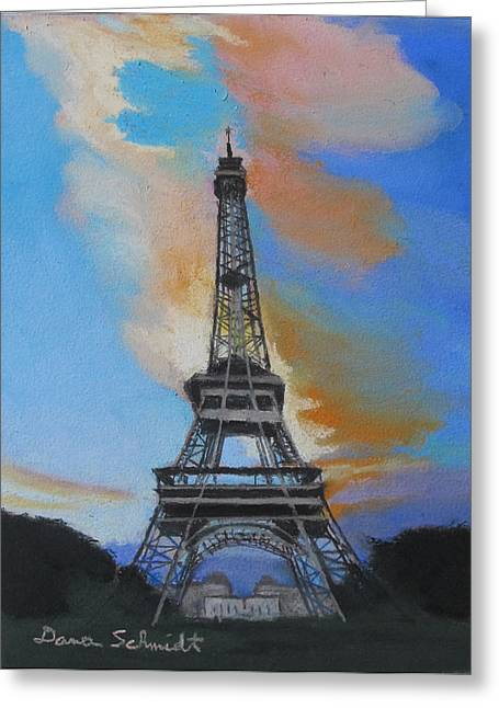 Eiffel Tower At Dusk Greeting Card