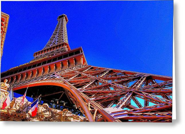 Greeting Card featuring the photograph Eiffel Tower At Paris Las Vegas by Linda Edgecomb