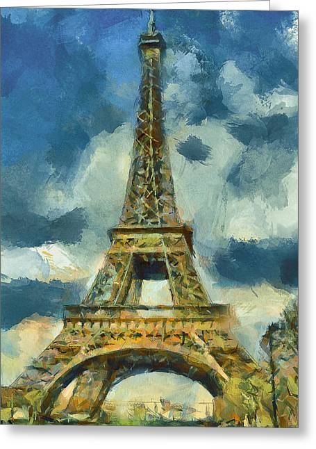 Eiffel Tower In Spring Greeting Card