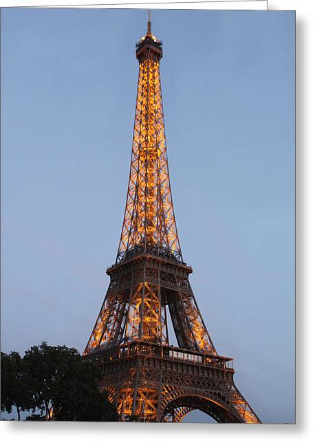 Eiffel Tower Lights Greeting Card by Debra     Vatalaro