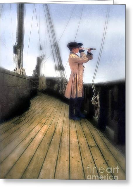 Eighteenth Century Man With Spyglass On Ship Greeting Card by Jill Battaglia