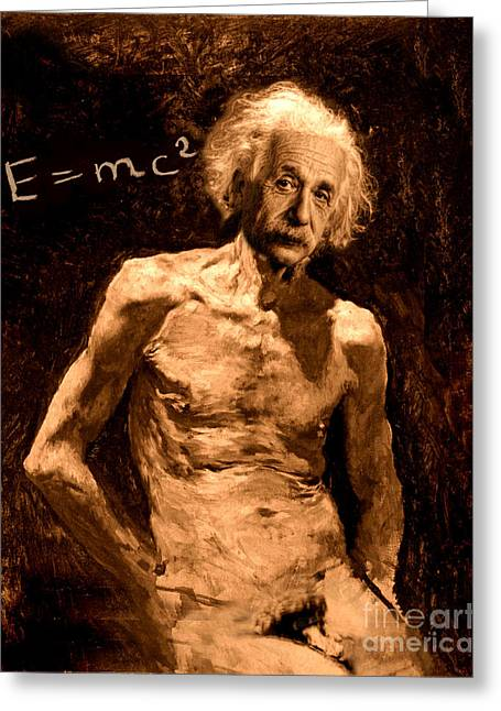 Einstein Relatively Nude Greeting Card by Karine Percheron-Daniels