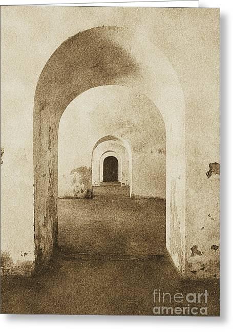 El Morro Fort Barracks Arched Doorways Vertical San Juan Puerto Rico Prints Vintage Greeting Card