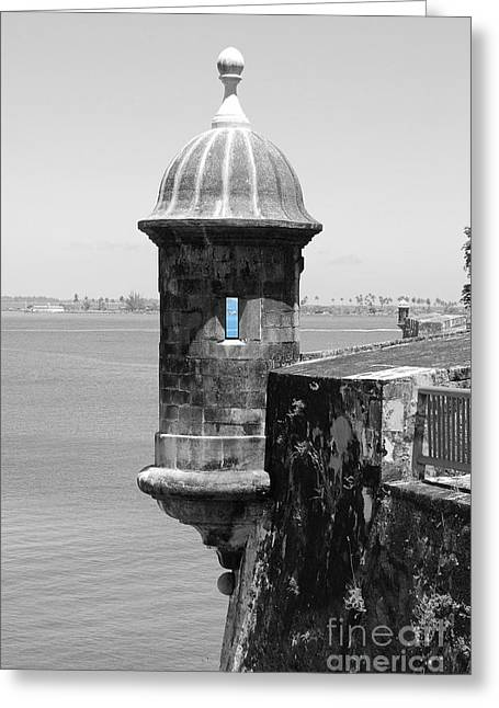 Greeting Card featuring the photograph El Morro Sentry Tower Color Splash Black And White San Juan Puerto Rico by Shawn O'Brien