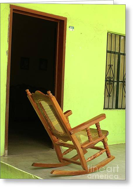 El Quelite Rocking Chair Mexico Greeting Card by John  Mitchell