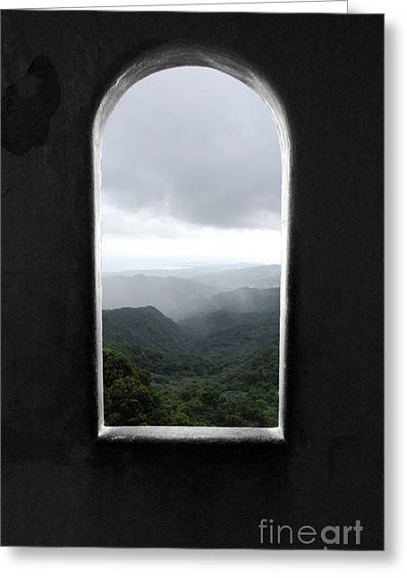 Greeting Card featuring the photograph El Yunque Cloudburst Color Splash Black And White by Shawn O'Brien