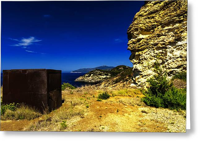 Greeting Card featuring the photograph Elba Island - Rusty Iron Cube Landscape - Ph Enrico Pelos by Enrico Pelos