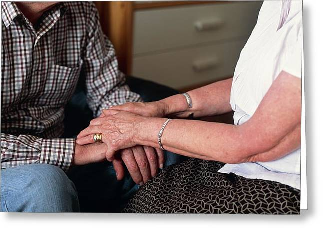 Elderly Couple Holding Hands Greeting Card by