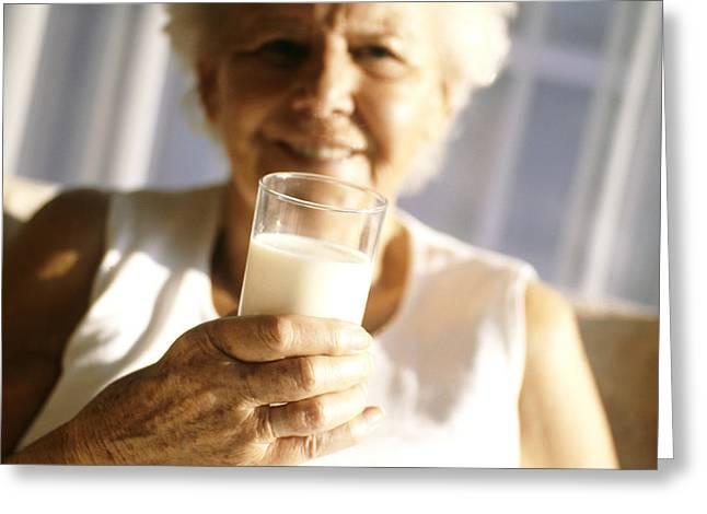 Elderly Woman Drinking Milk Greeting Card by Cristina Pedrazzini