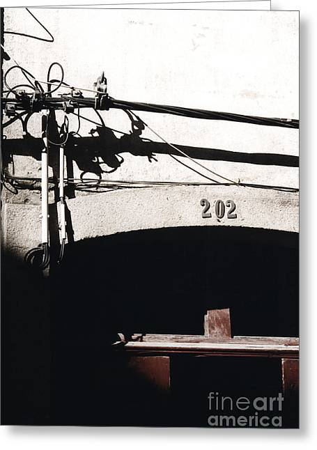 Greeting Card featuring the photograph Electric Cables by Agnieszka Kubica
