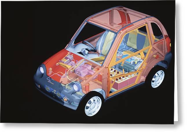 Electric Car, Artwork Greeting Card