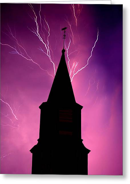Electric Church Greeting Card by Tim Scullion