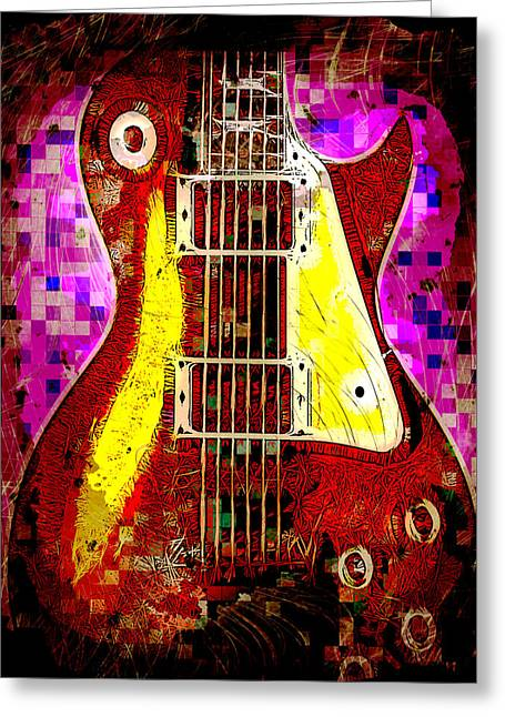 Electric Guitar Abstract Greeting Card by David G Paul