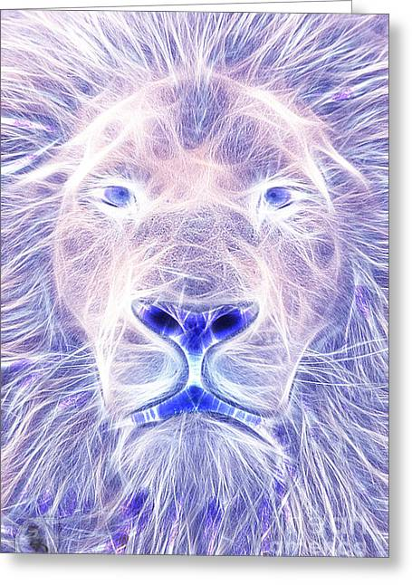 Electric Lion Greeting Card by The DigArtisT