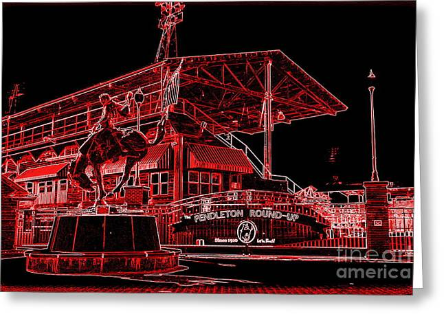 Electric Night Rodeo - Digital Art Greeting Card