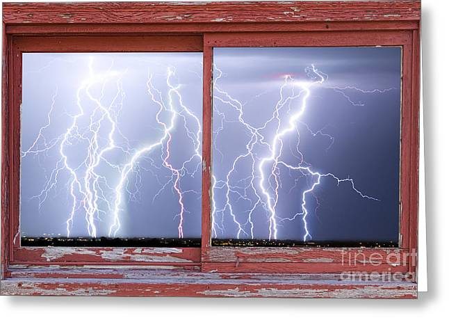 Electric Skies Red Barn Picture Window Frame Photo Art  Greeting Card by James BO  Insogna