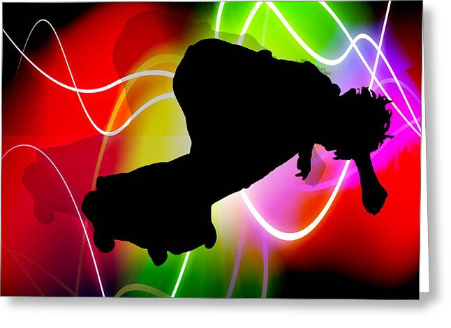 Electric Spectrum Skater Greeting Card by Elaine Plesser