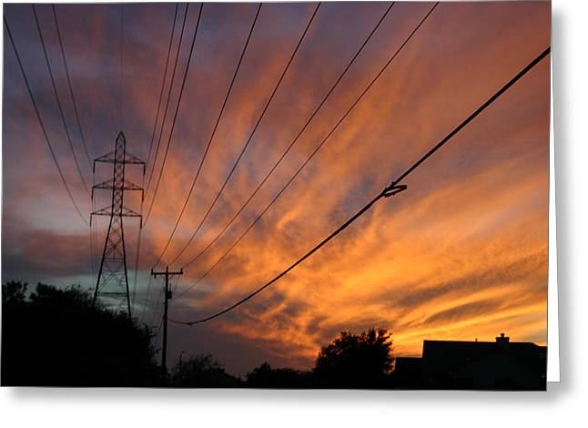 Electric Sunset Greeting Card by Nina Fosdick