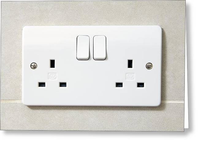 Electric Wall Socket Greeting Card by Johnny Greig
