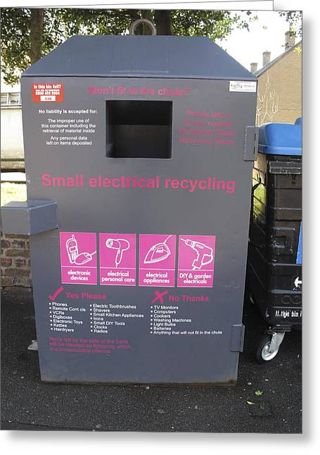 Electrical Recycling Bin Greeting Card