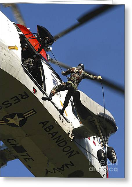 Electricians Mate Rappels Greeting Card