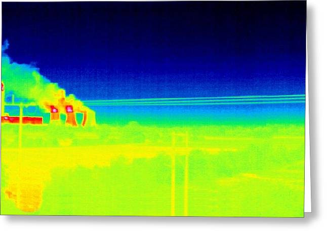 Electricity Power Lines, Thermogram Greeting Card