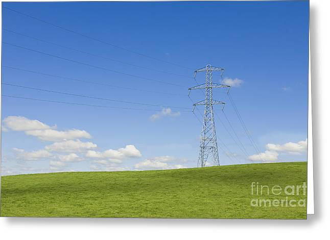 Electricity Pylon In Field Greeting Card by Dave & Les Jacobs