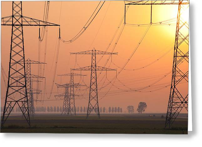 Greeting Card featuring the photograph Electricity Pylons by Hans Engbers