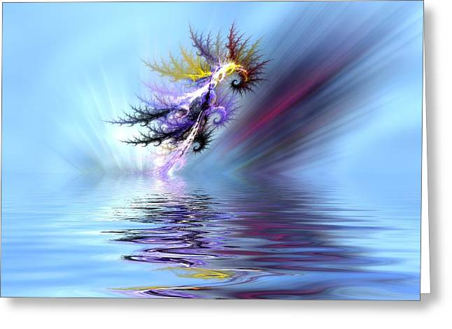 Electrified Seahorse Greeting Card by Sharon Lisa Clarke