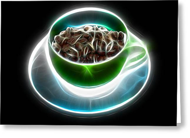 Electrifyin The Coffee Bean -version Green Greeting Card