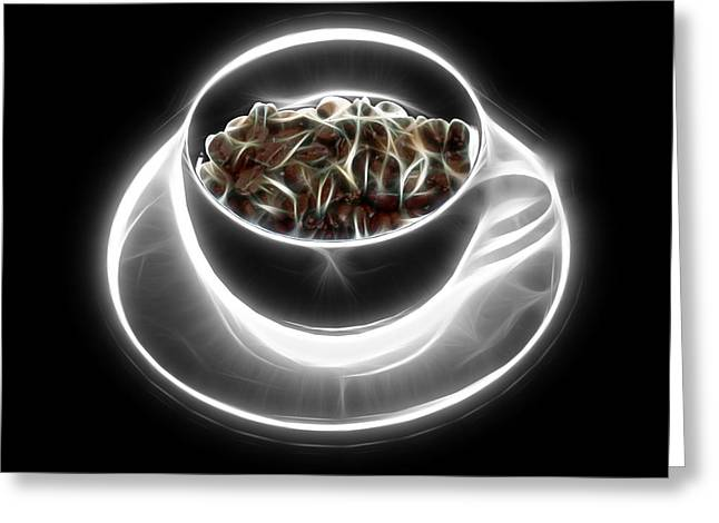 Electrifyin The Coffee Bean -version Greyscale Greeting Card by James Ahn