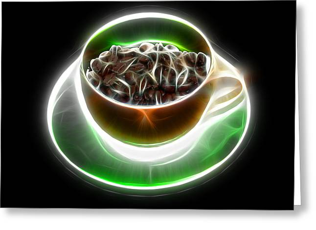 Electrifyin The Coffee Bean -version Orange Greeting Card