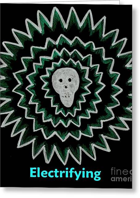 Electrifying Skull - Green On Black Greeting Card