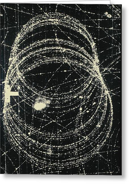 Electron And Positron Spiralling Tracks Greeting Card