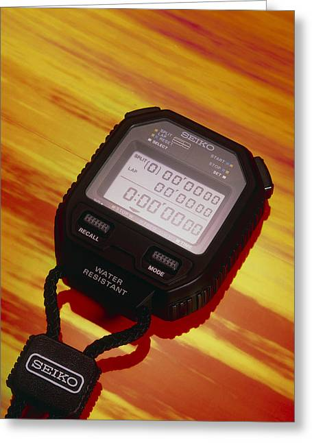 Electronic Stopwatch Greeting Card by David Parker