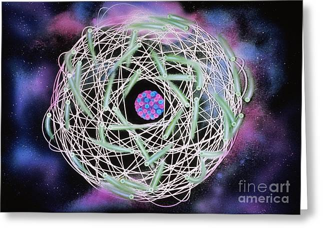 Electrons Orbiting Atom Greeting Card by Omikron